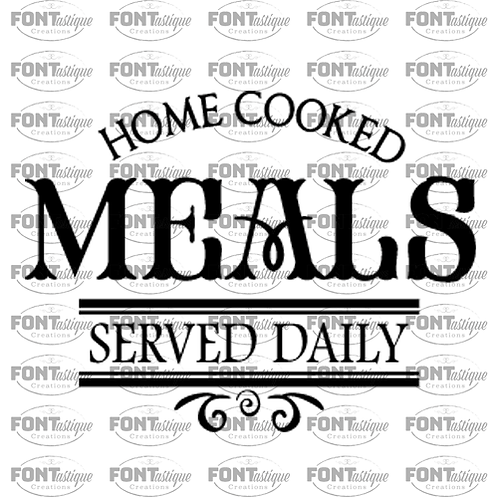 "Home cooked meals served daily (12""x12"")"