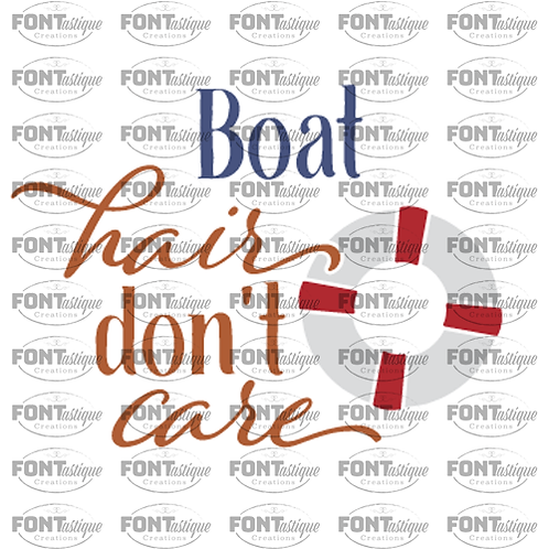 """Boat Hair Don't Care (12""""x12"""")"""