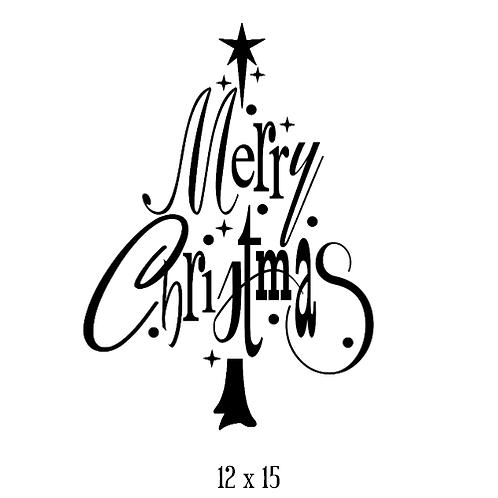 "Merry Christmas - tree shape (12""x 15"")"