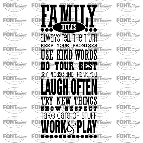 """Family Rules (12""""x24"""")"""