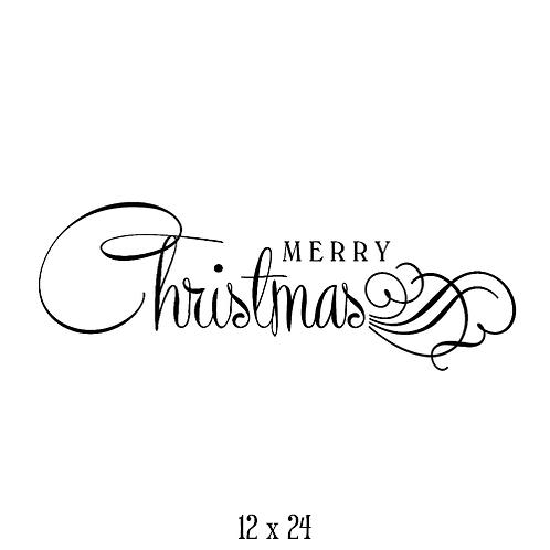 """Merry Christmas - swirls (12""""x 24"""")"""