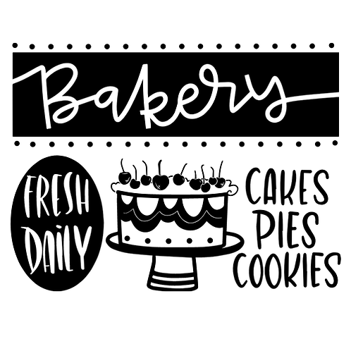 "Bakery, fresh daily, cakes pies cookies (12""x18"")"