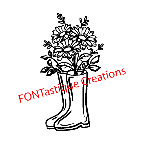 """Rubber boots with flowers (10""""x12"""" Silk Screen) $25."""