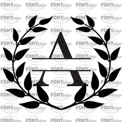 """Split Monogram Letter Wreath (12""""x12"""")"""