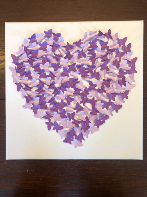 TAKE & MAKE - 3D Paper butterfly Heart Canvas