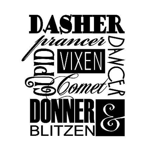"""Dasher Prancer Vixen (12""""x 12"""")"""