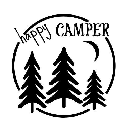 "Happy Camper -circle/trees (12""x12"")"