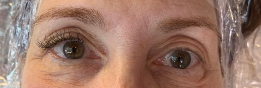 Classic Eyelash Extensions with eyes open to see difference