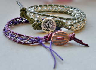 Lashed Chain and Leather Bracelet