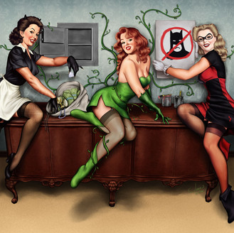 Gotham City Sirens Pinup Girls, Catwoman, Poison Ivy, and Harley Quinn