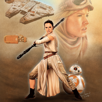 Rey's Journey Begins - Portrait of Rey and BB-8 from Star Wars The Force Awakens.