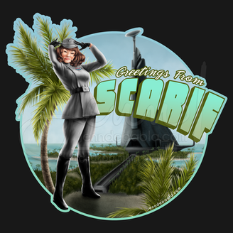 Greetings from Scarif Imperial Officer Pinup Girl