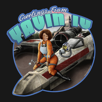 Greetings from Yavin IV X-wing Pilot Pinup Girl