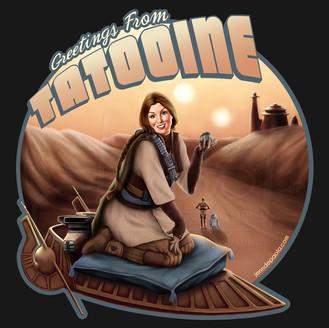 Greetings from Tatooine Bounty Hunter Pinup Girl