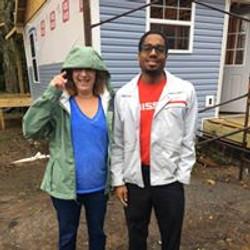 Nissan Guy and Gal Volunteers in rain