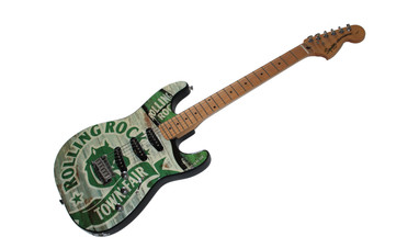 Edge City Design designed and produced this Rolling Rock guitar as part of their joint promotions.