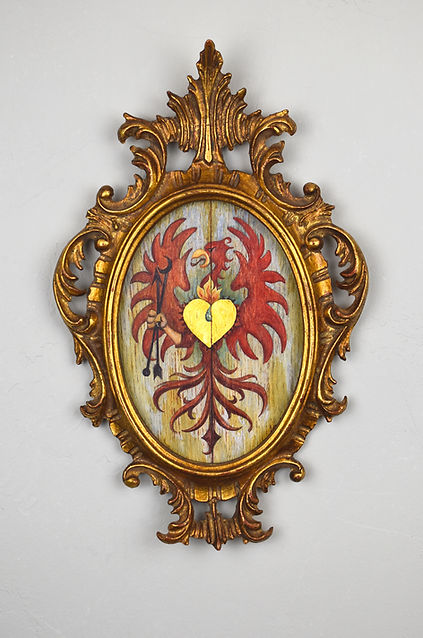 phoenix, heart, coat-of-arms, crest