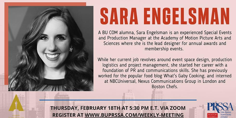 Weekly Meeting with Sara Engelsman