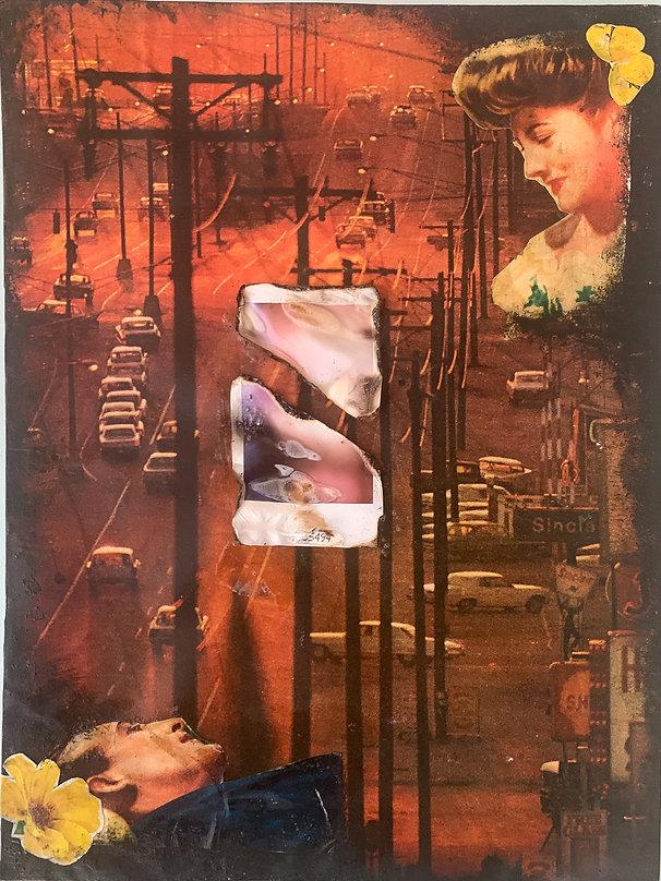 longing - mixed media analog collage