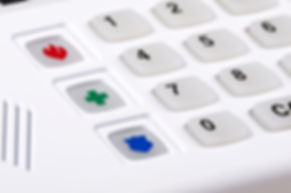 Home security alarm keypad, closeup of f
