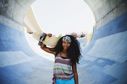 woman and skateboard