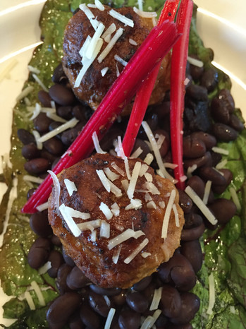 pork meatballs with rainbow chard and black turtle beans