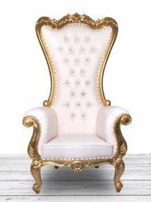 Pearl White & Gold Throne Chair