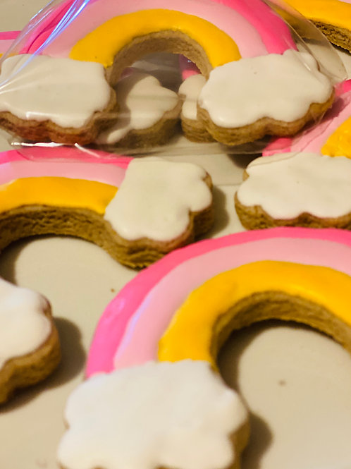 Rainbow themed iced cookies