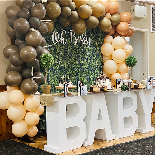 Baby Table with Balloon Arch & Backdrop