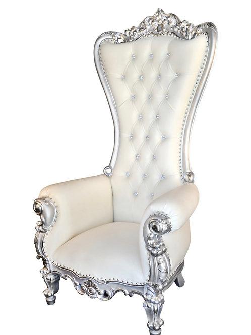 Silver & White High Back Royal Throne Chair