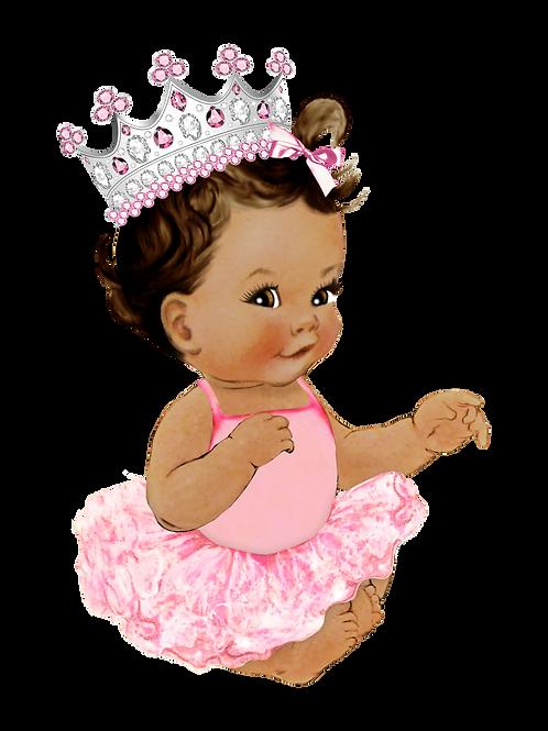 Royal Princess Pink Tutu Silver Crown Instant Download