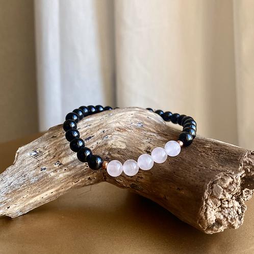 Rose Quartz + Black Tourmaline Bracelet