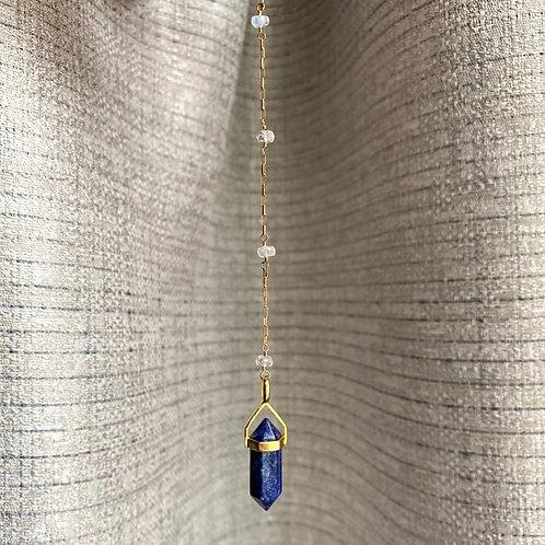 Blue Sodalite + Quartz Pendulum
