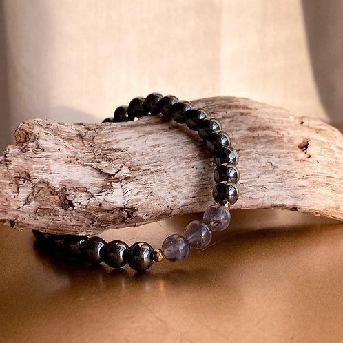 Hematite + Iolite Bracelet