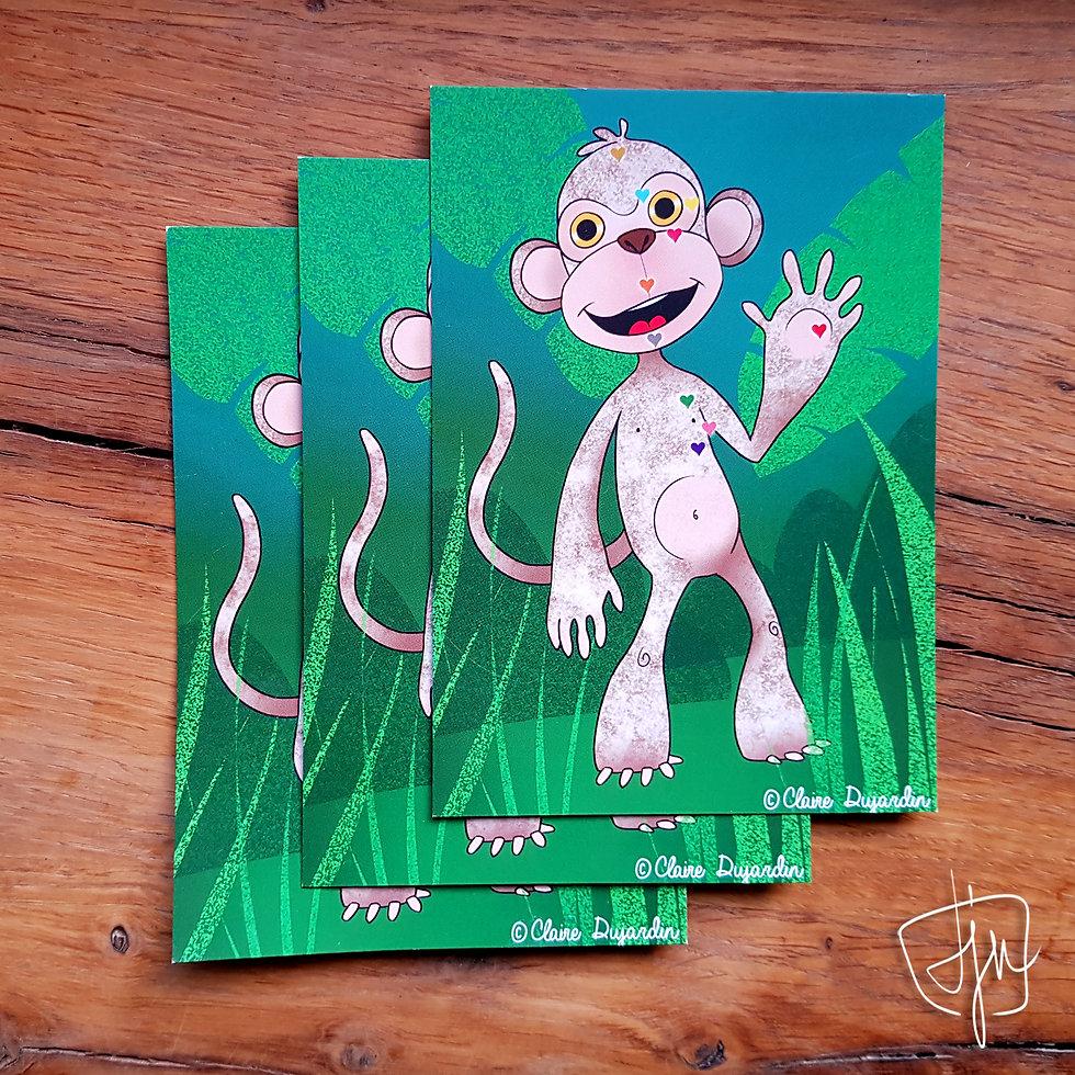 Carte postale illustration singe