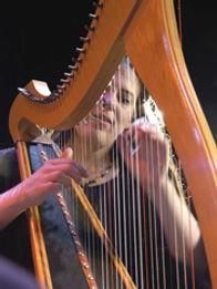 Annette Bjorling playing harp