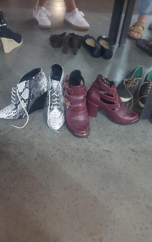 Some of the shoe selection at the Noto Fall Clothing Swap