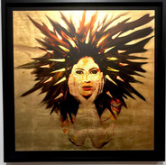 2018  Size: 36x36 in. (91.5 x 91.5 cm.) Frame: 40x40 in. (101.6 x 101.6 cm.) Wood covered with 24k Gold Leaf. Photographic overlay and compression. Framed in a Black Shadow Box Open Frame.  Please contact gallery for price.