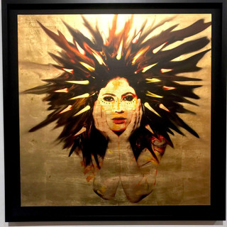 2018  Size: 36x36 in. (91.5 x 91.5 cm.) Frame: 40x40 in. (101.6 x 101.6 cm.) Wood covered with 24k Gold Leaf. Photographic overlay and compression. Framed in a Black Shadow Box Open Frame​.  Please contact gallery for price.