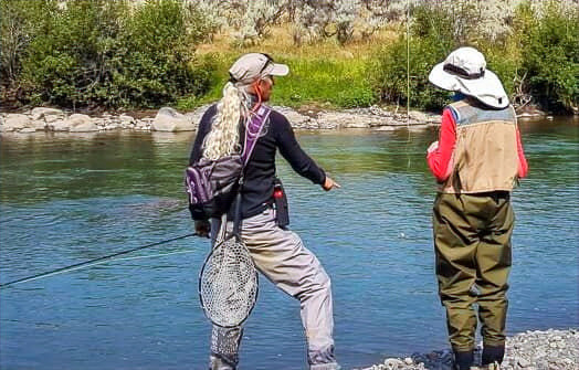 A fly fishing lesson on the banks of Hellroaring Creek in Yellowstone Park.