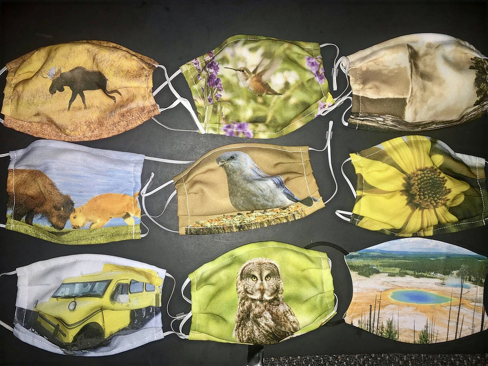 Face masks adorned with Yellowstone wildlife and scenery