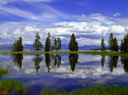 Yellowstone Lake Reflecting Big Sky, Yellowstone National Park
