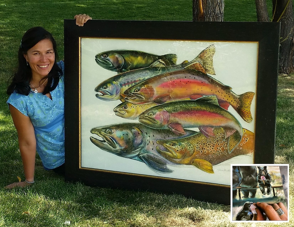 Mimi Matsuda's inspiring and whimsical art showcases Yellowstone's trout, bears and other wildlife.