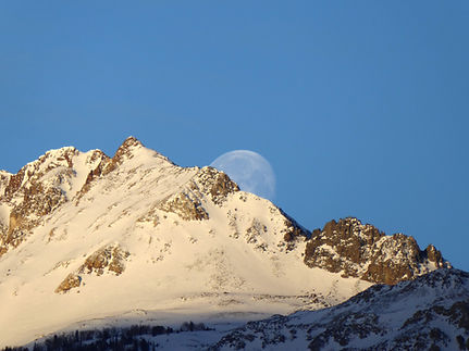Moonset over Electric Peak in Yellowstone Park