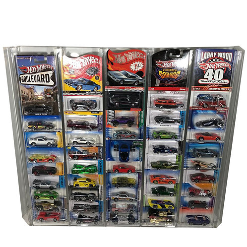 Elite Hot Wheels Clear Acrylic Collector Display Storage Rack for Carded Cars