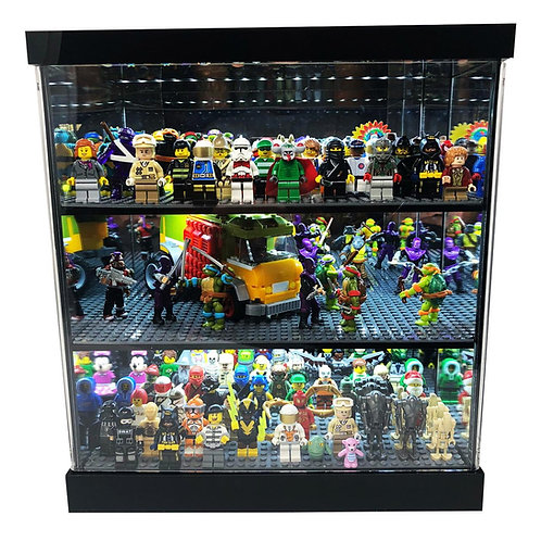 Acrylic LED Lighted & Mirrored Display Case for Minifigures Minifigs