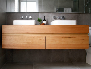 Timber vanities can cope with your wet bathroom