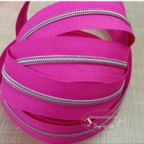 Bright Pink #3 Nylon Zipper Tape