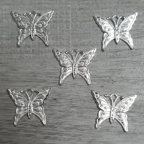 Silvery Butterfly Charms (5)