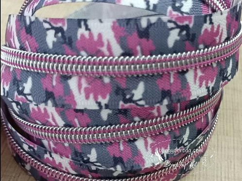 Camo Pink #5 Nylon Zipper Tape